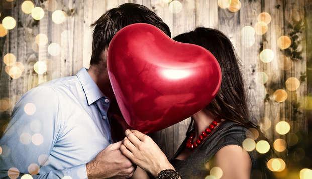 Romanticismo con champán y caja de amor en Niza