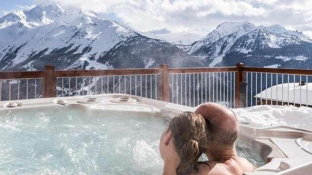 Dîner, spa et vue panoramique au cœur des montagnes à la Rosière