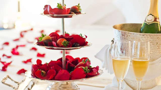 Cadeau romantique : cava et fruits au chocolat