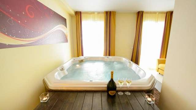 Diseño y bienestar con bañera de hidromasaje en habitación en la campiña de Pistoia