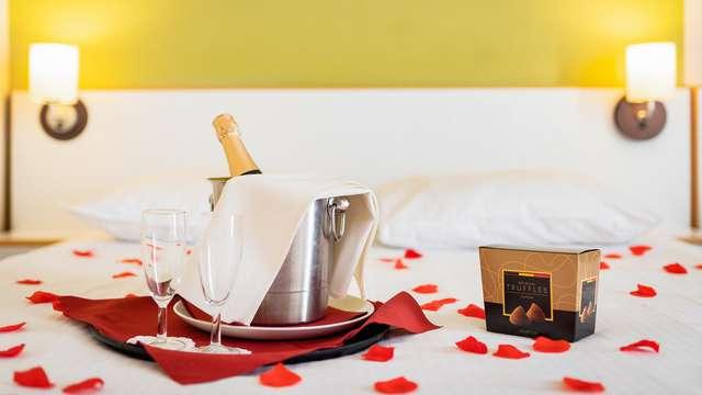 Romantisch verblijf met rozenblaadjes en chocola nabij Brugge