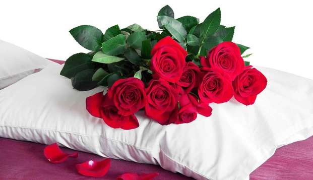 Saint-Valentin avec champagne et pétales de roses dans le quartier des Batignolles