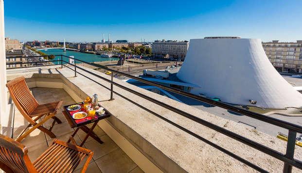 Week-end avec terrasse privative donnant sur le bassin du Havre