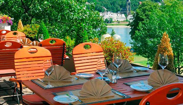 Ontspanningsweekend met diner aan de oevers van de Rijn