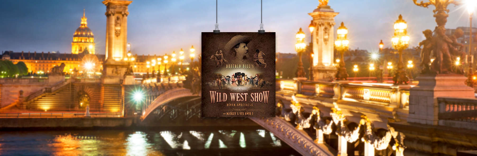 """Diner-show van Disney """"La légende de Buffalo Bill """" en 4-sterren verblijf nabij Parijs"""