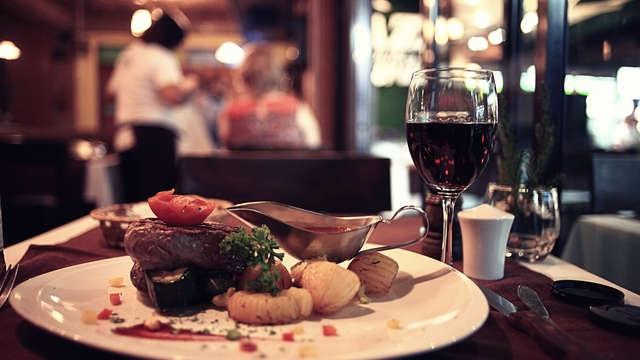 cena romántica 3 platos para 2 adultos
