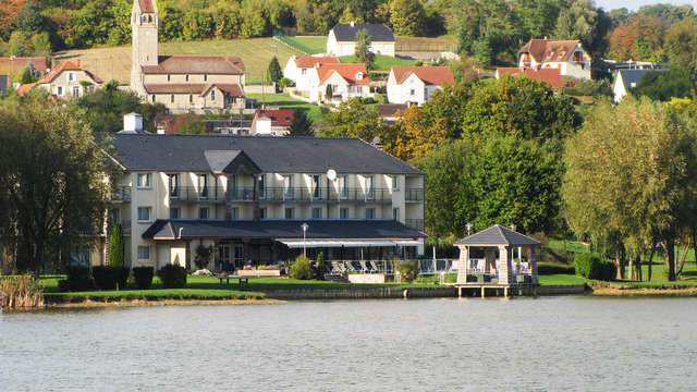 Verandering van omgeving aan de oevers van het meer van Ailette, in de buurt van Reims