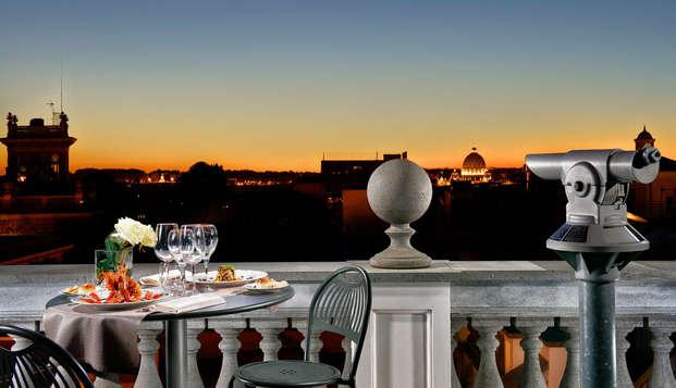 Verre de vin en terrasse avec une vue imprenable sur Rome