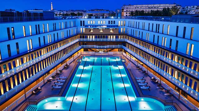 acceso a la piscina exterior climatizada para 2 adultos