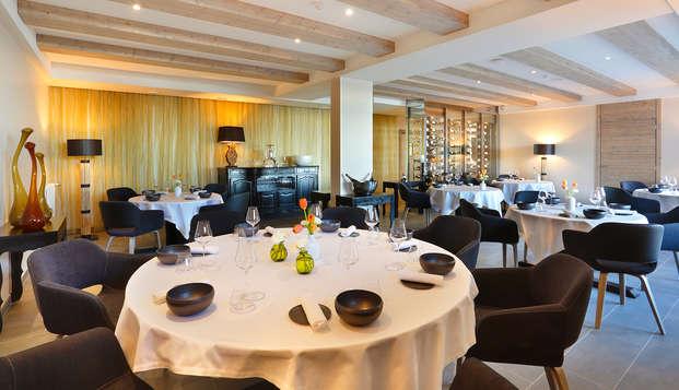 Table bistronomique et vue imprenable sur les Alpes