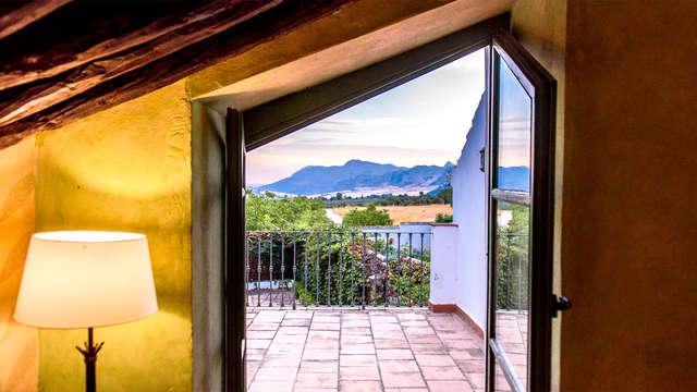 Romantisme avec bouteille de vin dans une chambre supérieure à Ronda, dans la province de Malaga